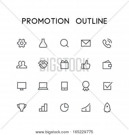 Promotion outline icon set - pinion, tube, search, envelope, telephone, clients, handshake, gift, wallet, mobile phone, check mark, rocket and others simple vector symbols. Business and success signs.