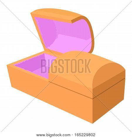 Opened coffin icon. Cartoon illustration of opened coffin vector icon for web