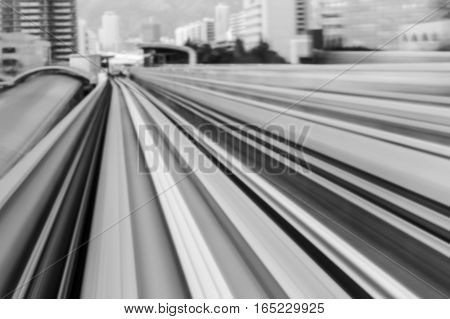 Black and White Train moving blurred motion in Kobe Japan abstract background