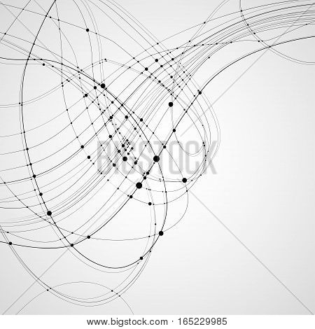 Abstract vector background. Black rounded curves intersecting lines with rounded points at the intersections on a light background. Subject of technology molecular physics data transmission.