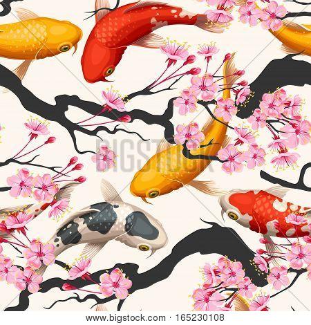 Koi fish and pink sakura vector seamless background