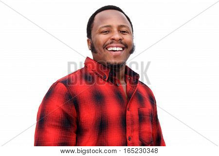 Close Up Portrait Of Young Black Guy Laughing