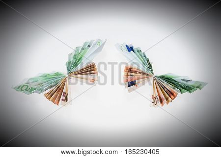 Euro notes in the form of butterflies