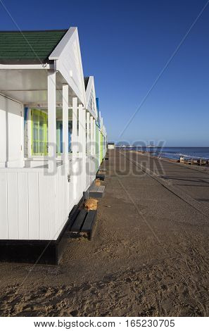 Beach huts at Southwold Suffolk England against a blue sky