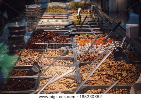 Sweets nuts and dried fruits in the market.