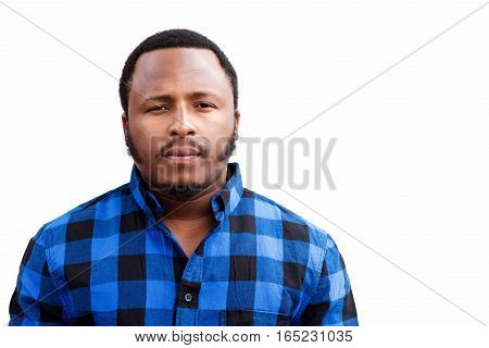 Chubby African American Man Staring