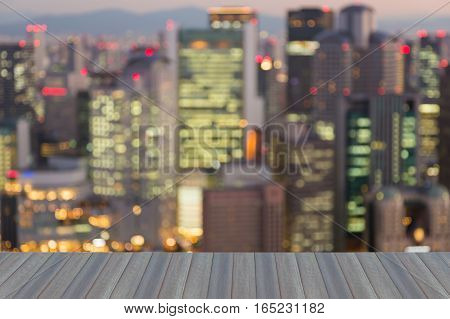 Opeing wooden floor blurred lights Osaka city night abstract background