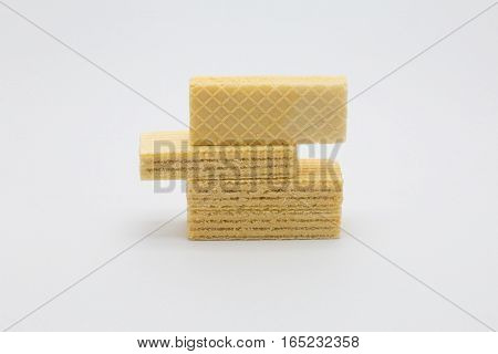 Stack wafer on white background snack on white background