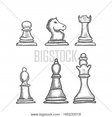 Hand Drawn engrave Chess Figures Vector illustration