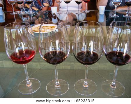 Wine tasting. Row of glasses of red wine samples on glass table for tasting