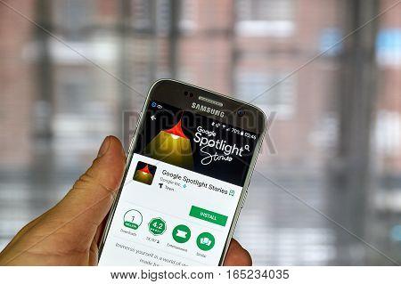 MONTREAL CANADA - DECEMBER 23 2016 : Google Spotlight Stories app on Samsung S7 screen. Google Spotlight Stories means storytelling for VR.