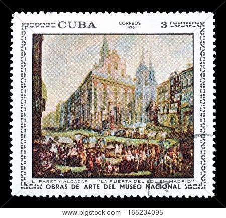 CUBA - CIRCA 1970 : Cancelled postage stamp printed by Cuba, that shows Painting by Alcazar.