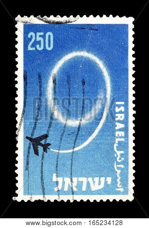 ISRAEL - CIRCA 1957 : Cancelled postage stamp printed by Israel, that shows Jet plane.