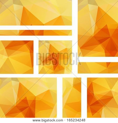 Set Of Orange Banner Templates With Abstract Background. Modern Vector Banners With Polygonal Backgr
