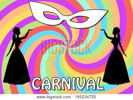 Carnival background with two black lady silhouettes and white face mask on swirly garish area. Vintage old-fashioned figures. Vector eps10.