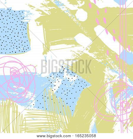 original modern abstract digital contemporary painting in trendy hipster style to poster, greeting card design, printable wall art, home decor, flyer, brochure, book, vector illustration