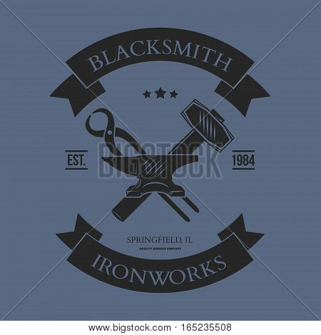 Set of vintage blacksmith labels and design elements vector illustration