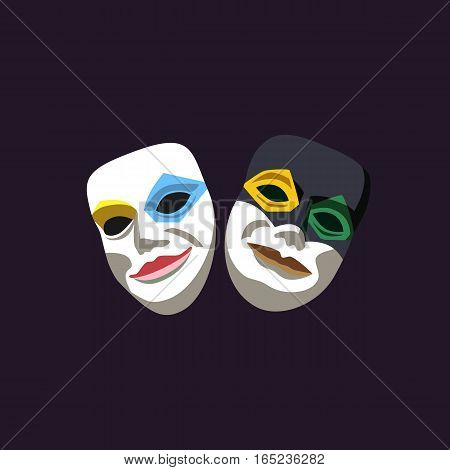 Carnival masks concept. Masquerade symbol. Freehand cartoon style. Mardi Gras parade celebration traditional colorful icon. Holiday vector decorative element banner background