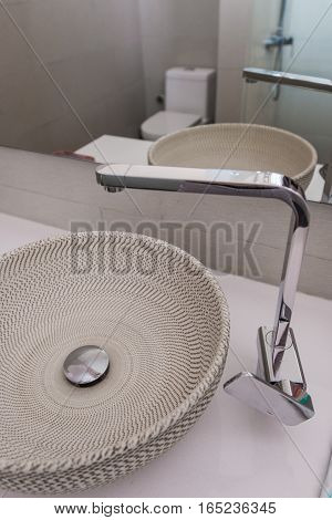 Modern sink in the bathroom at home or hotel