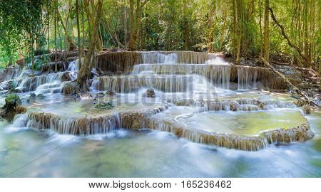 Deep forest multiple layers natural waterfalls natural landscape background