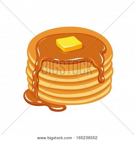 Stack of pancakes with maple syrup and piece of butter. Hand drawn vector illustration.