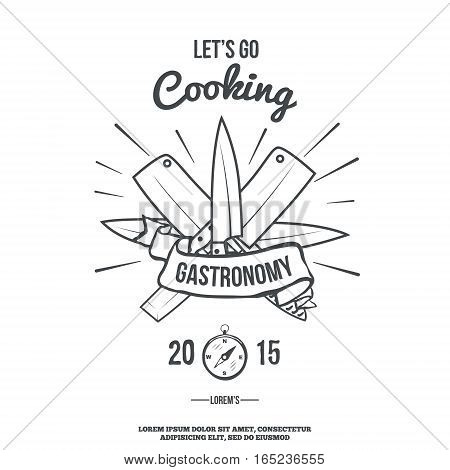 Chefs Vintage Crossed Knives T-shirt graphics print vector illustration