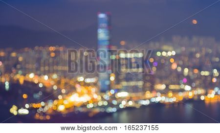 Night blurred lights Hong Kong city downtown abstract background