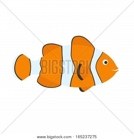 Cute clown fish cartoon. isolated on white background