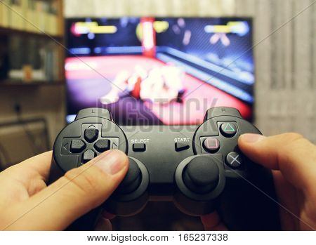 Playing fight with the joystick on the game console