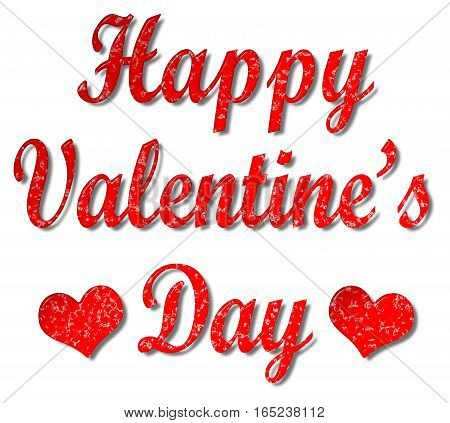 Happy Valentine's day and red hearts 3D illustration message with a speckled effect on an isolated white background