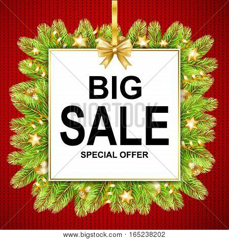 Big sale discount banner on knitted texture background. Text in frame with bow and fir-tree. Vector illustration.