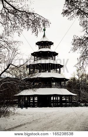 Chinese tower in munich winter time, bavaria
