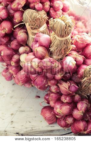 Shallots for is cooking in the market