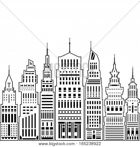 Modern Big City with Buildings and Skyscraper, Architecture Megapolis, City Financial Center on a Light Background, Black and White Illustration