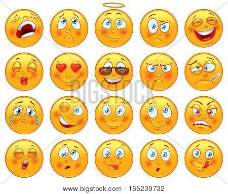 Smiley face icons or emoticons with set of different facial expressions in glossy realistic isolated in white background. Vector illustration