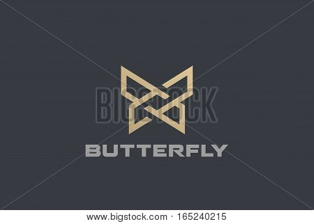Butterfly Logo geometric design abstract vector template Linear style icon.
