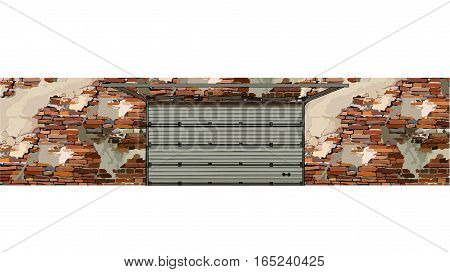 garage doors in the background of a shabby brick walls