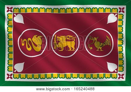 Flag of Western Province is one of the nine provinces of Sri Lanka. 3d illustration