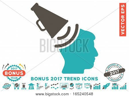 Grey And Cyan Propaganda Megaphone pictogram with bonus 2017 year trend clip art. Vector illustration style is flat iconic bicolor symbols white background.