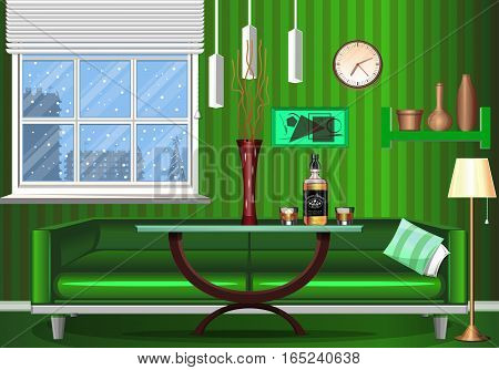 The interior of the room. Art design in green colors. Season winter. Night time . The living area. Table - furniture products. A bottle of liquor. Glass with ice. Template for your work