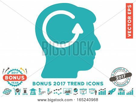 Grey And Cyan Refresh Head Memory icon with bonus 2017 trend icon set. Vector illustration style is flat iconic bicolor symbols white background.