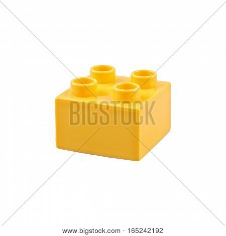 Yellow cube isolated on a white background