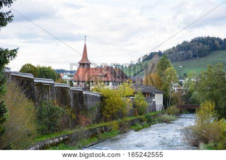 Canal in Appenzell, appenzell in Switzerland. cityscape