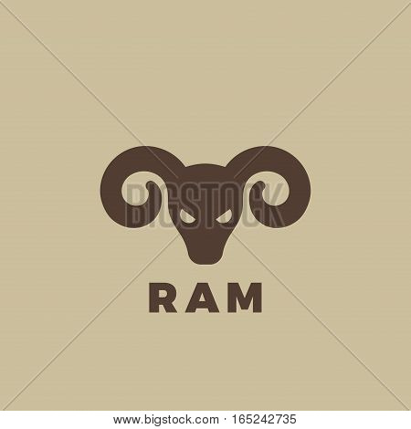 Ram head Logo design vector template. Vintage animal element for badges and posters