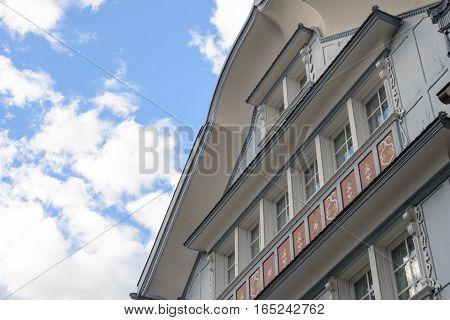 Wooden houses in Appenzel city in Switzerland
