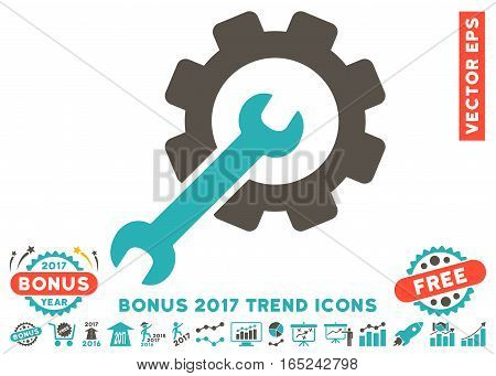 Grey And Cyan Setup Tools pictogram with bonus 2017 trend design elements. Vector illustration style is flat iconic bicolor symbols white background.