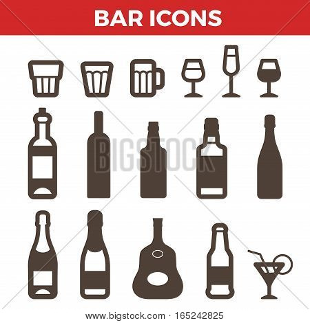 Bar icons set for Badges hipster style. Bottles glasses objects symbol