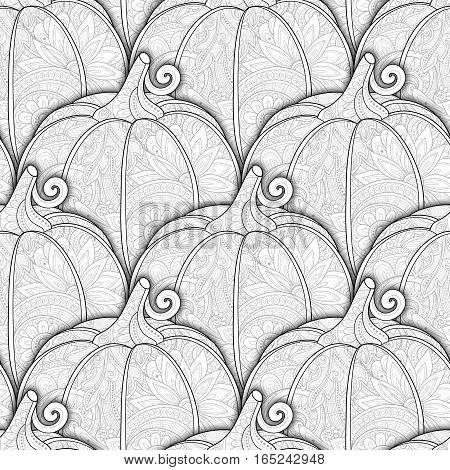 Vector Monochrome Seamless Pattern With Decorative Pumpkin