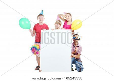 Happy childrens on the white background, birthday party