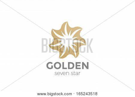Golden seven point Star abstract Logo loop design vector template.